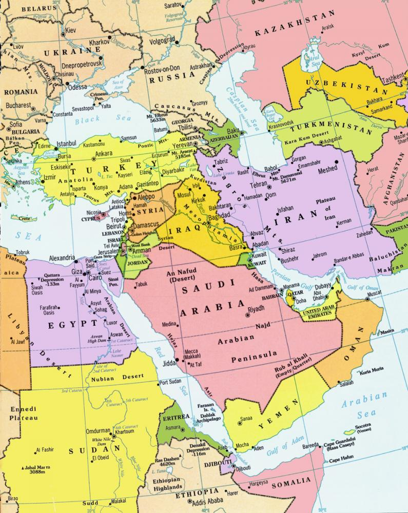 Political Map Of The Middle East And North Africa.Emerging Us Policy Towards Middle East North Africa Politact